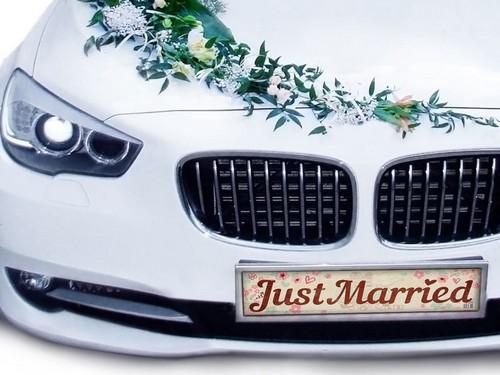 "Наклейка на номер автомобиля ""Just married"""