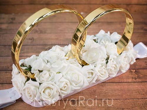 Кольца на крышу с розами, белые