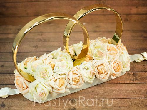 Кольца на крышу с розами, айвори