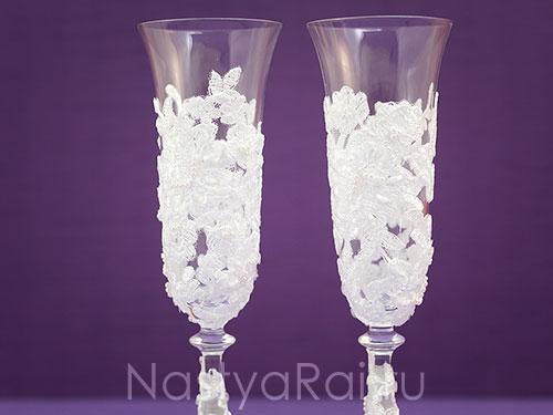 Кружевные свадебные бокалы