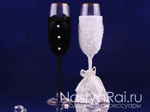 Свадебные бокалы с кружевом и лентами 192