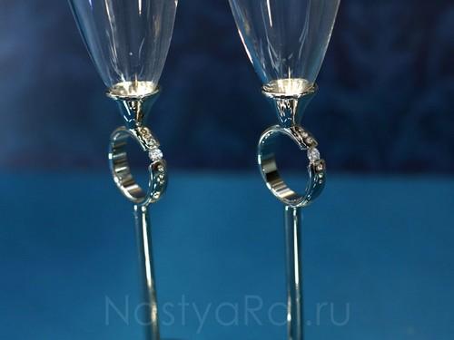 Бокалы свадебные, серебряные