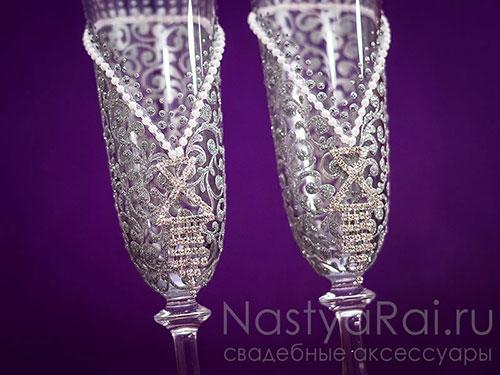 Бокалы для шампанского свадебные, серебряные