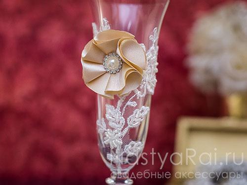 Свадебные бокалы в стиле винтаж
