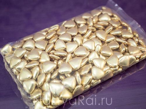Шоколадное драже Сердечки золотые