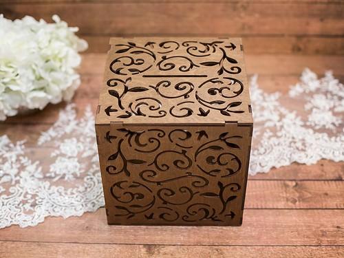 Резная коробка для подарков, коричневая
