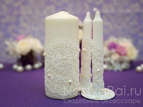 Набор свадебных свечей, айвори