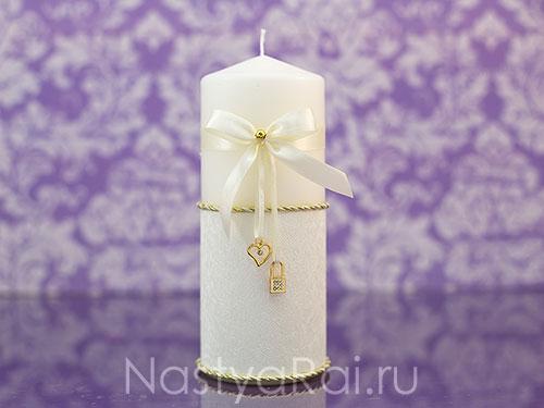 """Набор свечей """"Ключик и замочек"""", с золотом"""