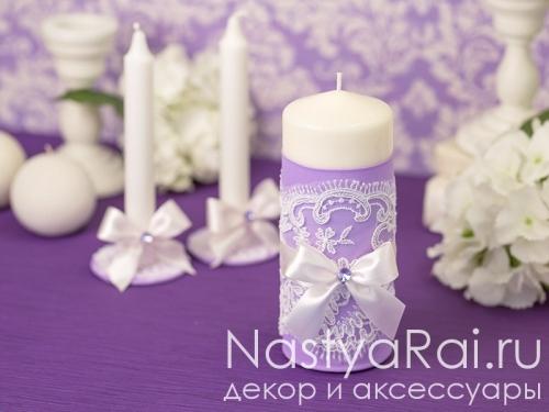 """Набор свадебных свечей """"Сиреневый Дамаск"""""""