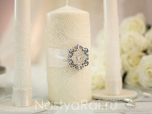 Свечи свадебные с кружевом
