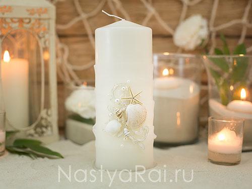 """Свадебные свечи с ракушками """"Кипр"""""""