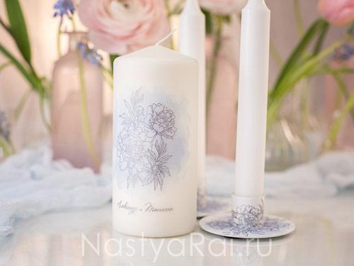 Свечи свадебные с пионами