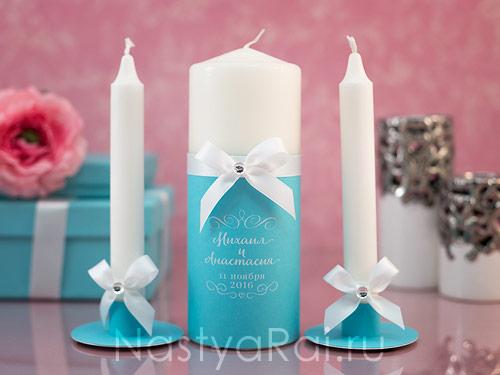 """Свадебные свечи """"Тиффани"""" с надписью"""