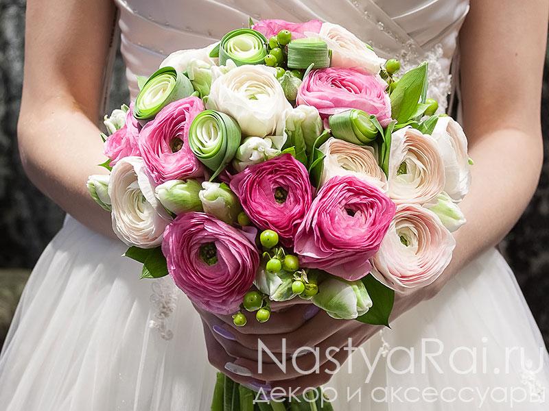 Букет невесты ранункулюс фрезия, цветы оптом город харьков барабашова