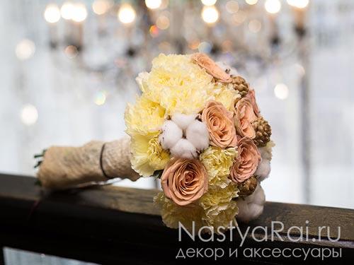 Модный букет невесты в цвете капучино