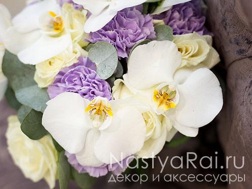 Букет невесты из орхидей и лунной гвоздики