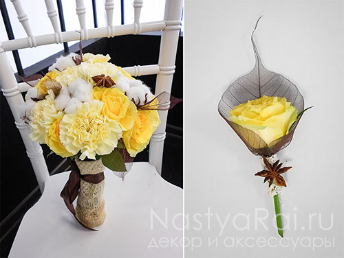 Букет в стиле рустик из хлопка, розы и гвоздик