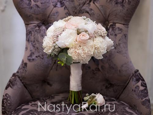 Букет невесты в пудровой гамме