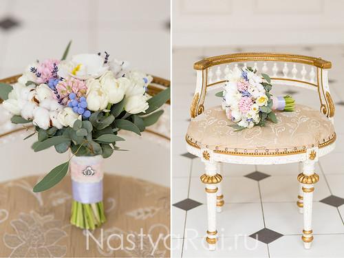 Букет невесты с орхидеями и лавандой