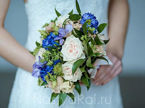синие свадебные букеты фото