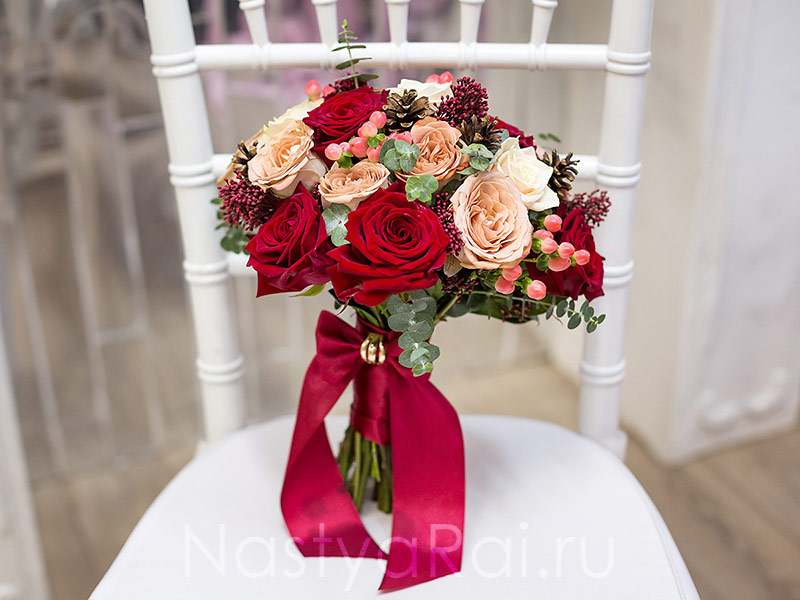 Букеты свадебные марсала
