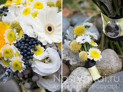 Желтая бутоньерка из хризантемы