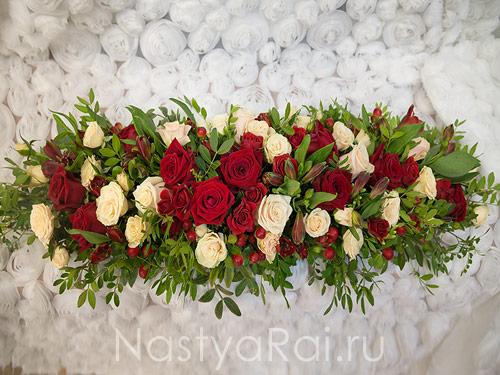 Композиция на президиум в красном цвете