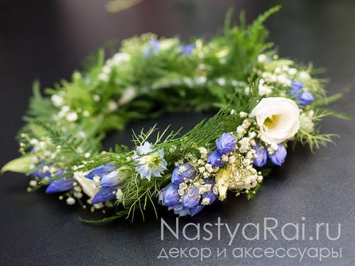 Свадебный венок из синих цветов