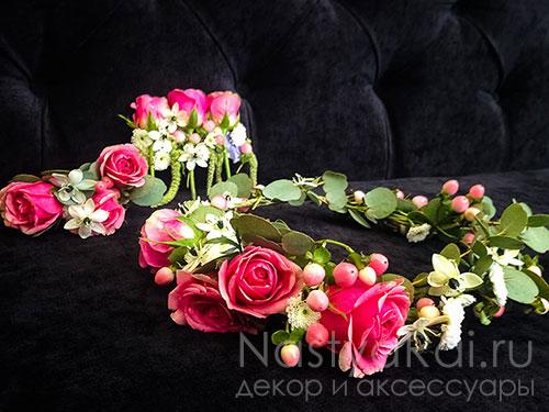 Украшение из роз в прическу невесты
