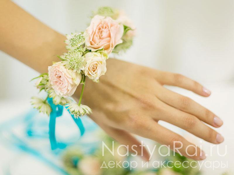 Браслеты из живых цветов на руку