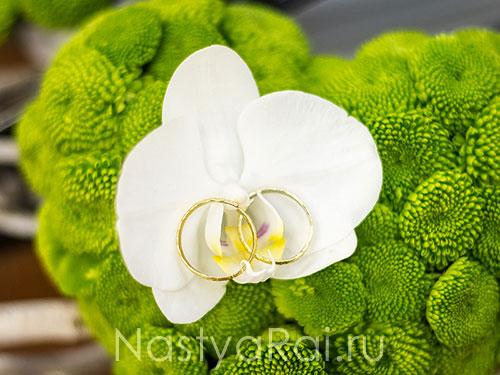 Подушечка для колец с орхидеей