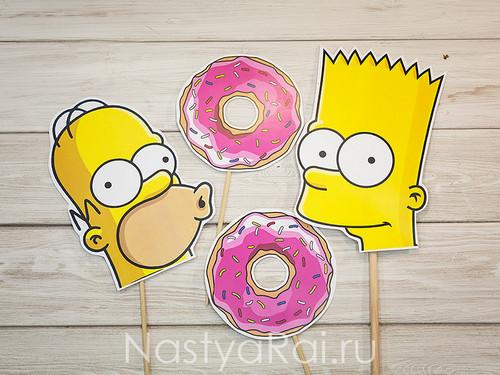 """Набор масок для фотосессии """"Симпсоны"""""""