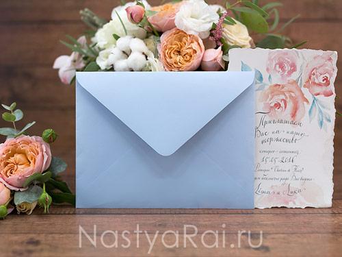 """Конверт для приглашения """"Воздушные цветы"""""""