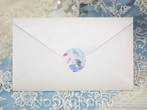 Конверт для приглашений с голубыми цветами