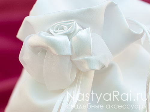 Сумочка-мешочек на свадьбу. Белый