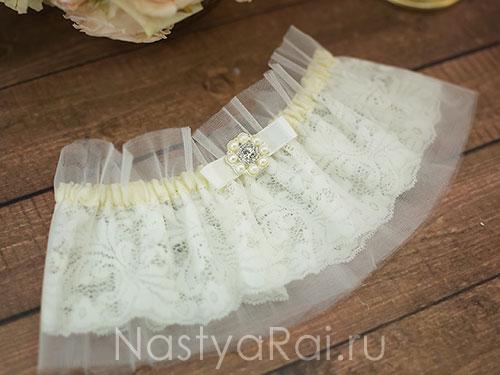 Широкая свадебная подвязка