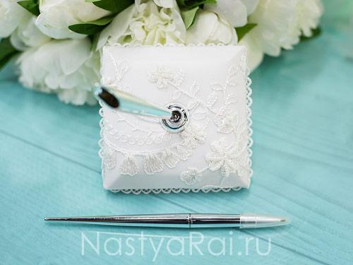 Серебряная ручка, подставка квадратная