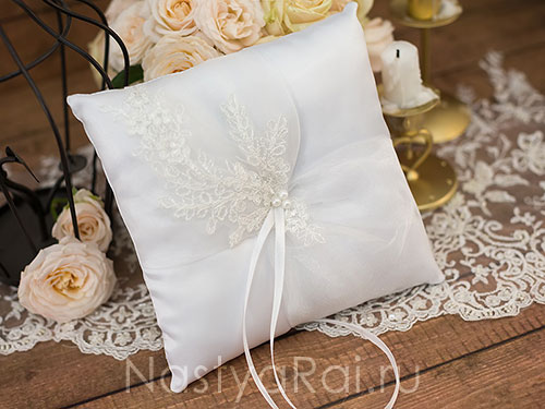 """Свадебная подушечка """"Колумбия"""". Белая"""