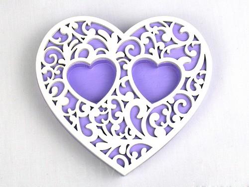 Подставка-сердце, сиреневая