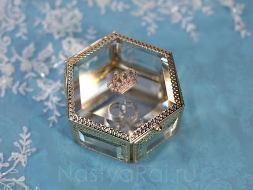 Золотая шкатулка из стекла, шестиугольная