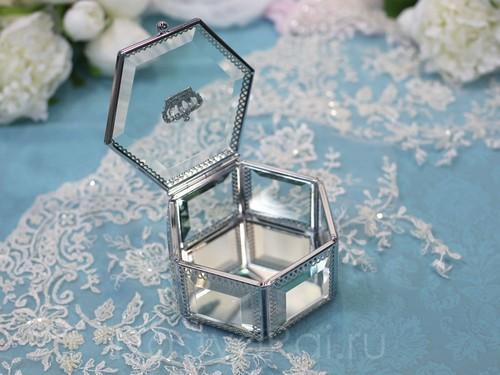 Серебряная шкатулка из стекла, шестиугольная