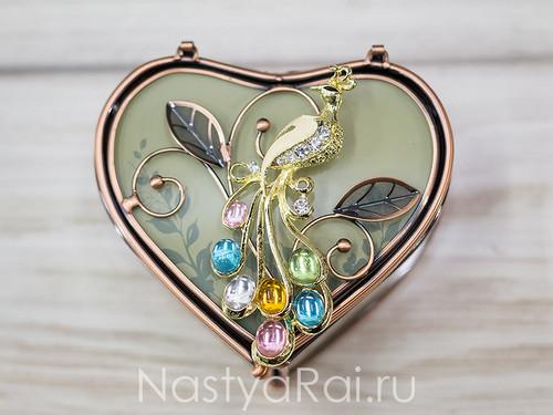 Шкатулка-сердце стеклянная
