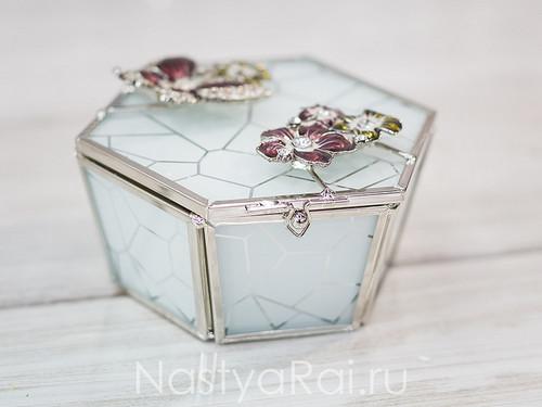 Шкатулка стеклянная Мраморная мозаика.