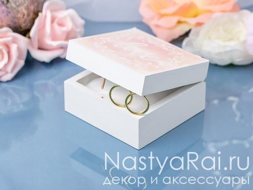 """Шкатулка для свадебных колец """"Розовая акварель"""""""