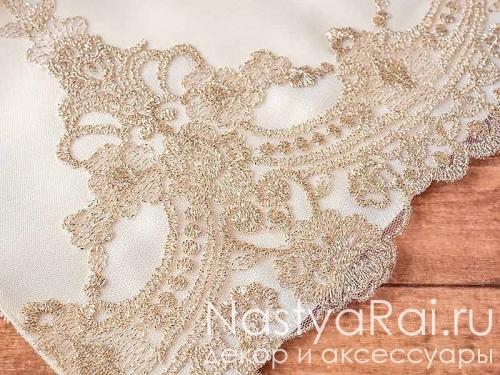Рушник на свадьбу с кружевным краем