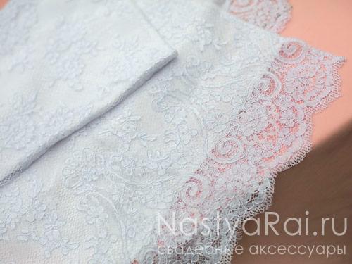 Белый cвадебный рушник с кружевом