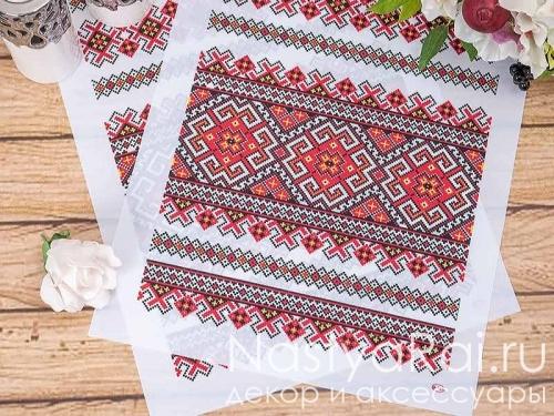 Свадебный рушник с красным орнаментом