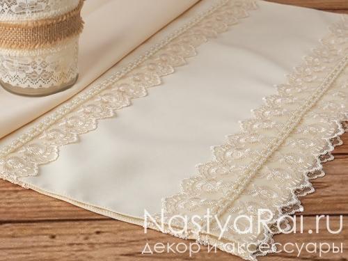 Свадебный рушник с жемчугом в цвете айвори
