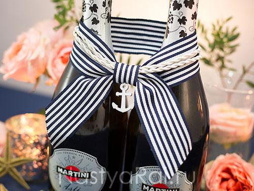 Декор для шампанского в морском стиле