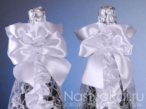 Свадебные украшения на бутылки
